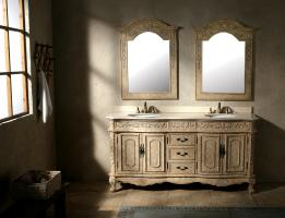 72 Inch Double Sink Bathroom Vanity in Parchment