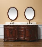 72 Inch Double Sink Bathroom Vanity with Cream Marble