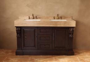 60 Inch Double Sink Bathroom Vanity with Travertine