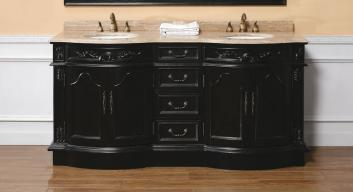 72 Inch Double Sink Bathroom Vanity in Black