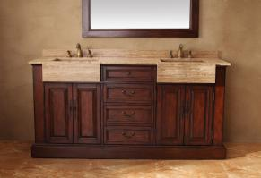 72 Inch Double Sink Bathroom Vanity in Cherry