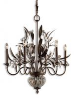 Cristal De Lisbon 8 Light Golden Bronze Chandelier