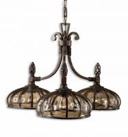 Galeana 3 Light Antique Saddle Iron Chandelier