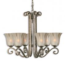 Lyon 6 Light Silver Leaf Chandelier