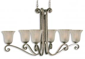 Lyon 6 Light Silver Oval Chandelier