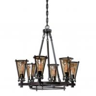 Frisco 6 Light Rustic Black Metal Chandelier