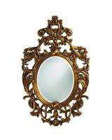 Howard Elliott Dorsiere Oval Museum Gold Leaf with Copper Highlights Mirror