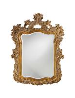 Howard Elliott Turner Rectangular Antique Museum Gold with Whitewash Highlights Mirror