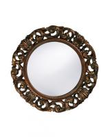 Howard Elliott Glendale Round Mottled Bronze with Gold & Antique White Wash Mirror