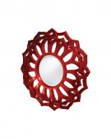 Casey Round Metallic Red Mirror