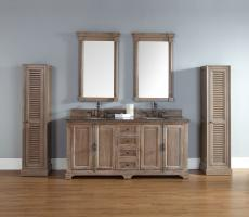 72 Inch Double Sink Bathroom Vanity in Driftwood Finish