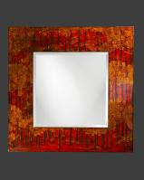 Mia Square Drizzled Red Yellow & Black Lacquered Mirror