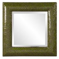 Serene Textured Emerald Glossy Green Lacquer Wood Square Mirror