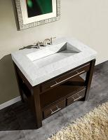 36 Inch Single Sink Cabinet with Espresso Finish and White Marble Top
