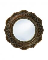 Erica Round Antique Copper with White Wash Accents Mirror