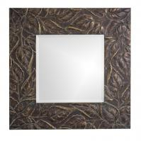 Vines Square Antique Bronze with Verde & Relief Accents Mirror