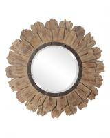 Hawthorne Round Layered Natural Wood Mirror