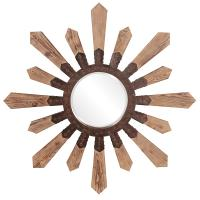 Pointe Natural Aged Wood Starburst with Rustic Bronze Metal Accents Mirror