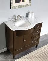 38 Inch Modern Single Bathroom Vanity with White Marble Top