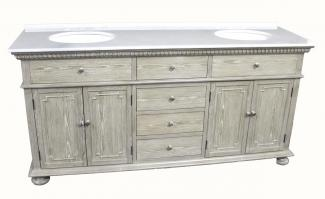 72 Inch Double Sink Bathroom Vanity in Distressed Light Wash
