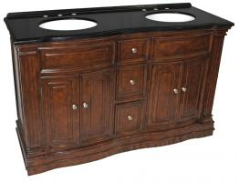 60 Inch Double Sink Bathroom Vanity with Black Granite