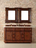 60 Inch Double Sink Bathroom Vanity with Hideaway Tip Out Drawers