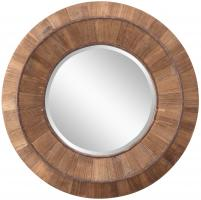 Andrea Natural Rustic Wood Round Mirror