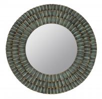 Dupont Metal Distressed Sage Round Mirror