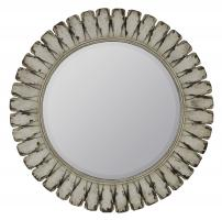 Tagus Distressed Off White Round Mirror