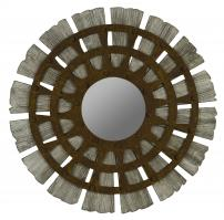 Zhubin Gray Wash with Metal Overlay Round Mirror