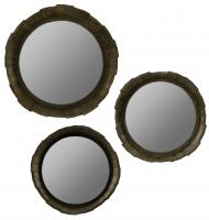 Dastans Rustic Brown Wood Round Mirror Set of 3