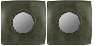 Jeremiahs Green with Brown Highlight Square Mirror Set of 2
