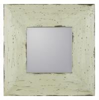 Arliss Cream with Wood Distressing Square Mirror