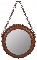 Emerson Aged Red Round Mirror