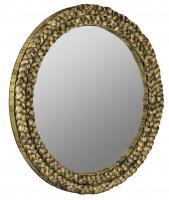Florence Natural Brown Braided Water Hyacinth Round Mirror