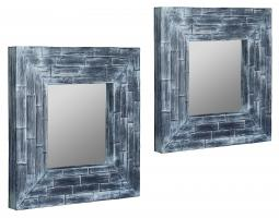 Pinon Blue Washed Coconut Leaf Square Mirrors Set Of 2