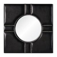 Quentin Silver Studded Black Leather Square Mirror