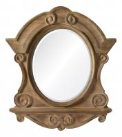 Clary Natural Wood with Brushed Gold and Gray Highlights Unique Mirror