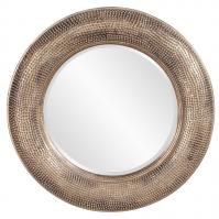 Raymus Hammered Warm Silver Leaf with Golden Accents Round Mirror