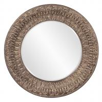 Arthur Textured Tuscan Brown with White Accents Round Mirror