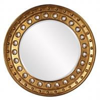 Calypso Bright Gold Leaf with Convex Mirrored Accents Round Mirror