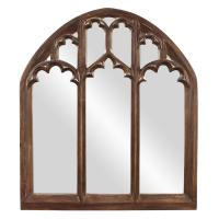 Basilica Wide Arched Tuscan Brown Mirror
