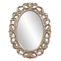 Ansel Oval Silver Leaf Ornate Mirror