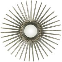 Sunburst Round Antique Silver Mirror