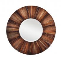 Kona Natural Rustic Wood Round Mirror
