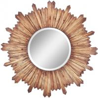 Catherine Natural Rustic Wood Round Mirror