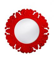 Anita Round Glossy Cherry Red Mirror