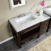 56 Inch Single Sink Cabinet with Espresso Finish and White Marble Top