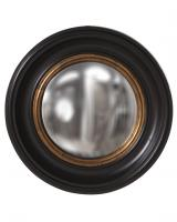 Albert Round Black Lacquer with Mottled Gold Leaf Convex Mirror