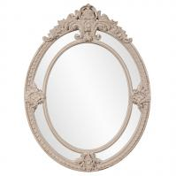 Penelope Distressed Rustic Taupe Ornate Oval Mirror